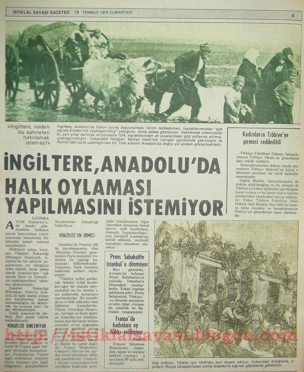 İstiklal Savaşı gazetesi